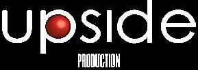 Logo bianco Upside Production tagliato ai lati